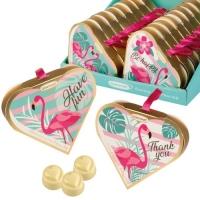 Herz Pralinenpräsent Flamingo, gefüllt mit Pralinen