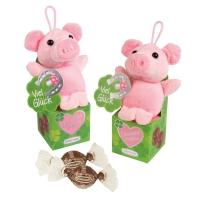 12 St. Plüsch-Glücksschwein auf Box