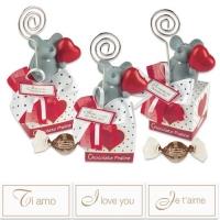 15 St. Porzellan-Maus mit Notizhalter auf Box und feinen Pralinen, sortiert