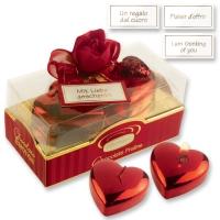 6 St. Pralinen-Box rot-gold mit Herz-Kerzen, sortiert und feinen Pralinen