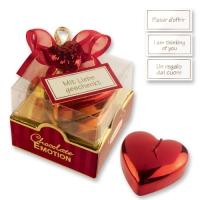 12 St. Pralinen-Box rot-gold mit Herz-Kerze, sortiert und feinen Pralinen