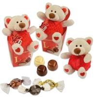 12 St. Plüschbär  Love  in Box, groß, gefüllt mit weißen, hellen und dunklen Pralinen (No