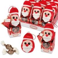 Plüsch-Nikolaus auf Box, gefüllt mit feinen Pralinen