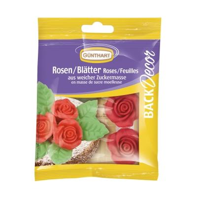 12 St. Rosen rot mit Blätter grün