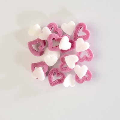 1,3 kg Streudekor, Zuckerherzen weiss/rosa