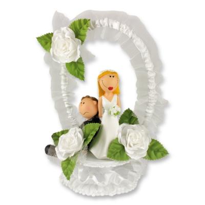 1 St. Poly-Brautpaar-Aufsatz mit Tüllkranz
