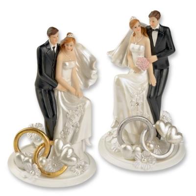 2 St. Polyresin-Brautpaaraufsatz mit Trauringen und Blumendekoration