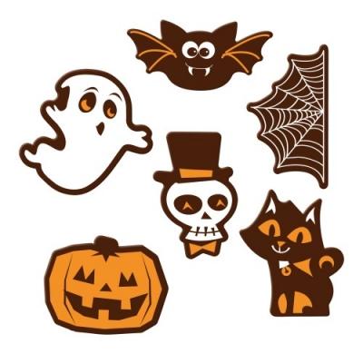 Aufleger Halloween, dunkle Schokolade, sortiert