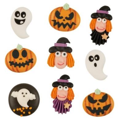 63 St. Zuckerfiguren Halloween, flach, sort.