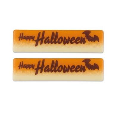 """Schriftstreifen """"Happy Halloween"""", weiße Schokolade"""