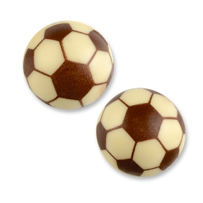 40 St. Fußball Hohlkugel 3D, weiße Schokolade