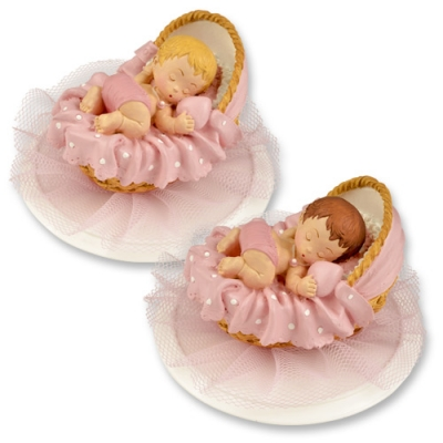 2 St. Polyresin-Aufsatz, Baby im Korb, rosa
