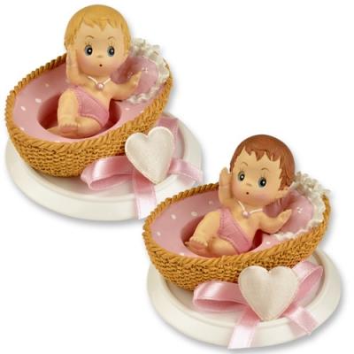4 St. Kleine Poly-Aufsatz Baby im Körbchen rosa