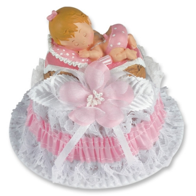 2 St. Poly-Tauf-Aufsatz, Baby im Korb, rosa