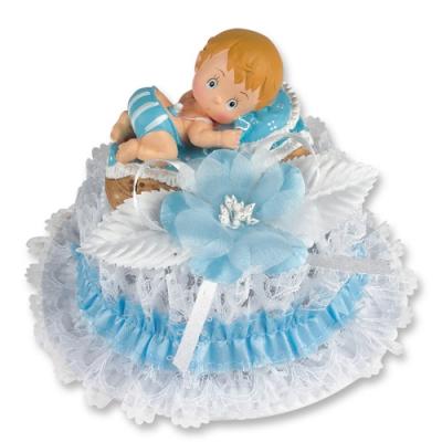 1 St. Poly-Tauf-Aufsatz, Baby im Korb, blau