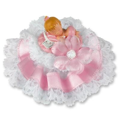 1 St. Poly-Tauf-Aufsatz mit Baby, rosa