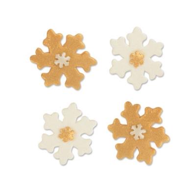 100 St. Tragantzucker-Schneeflocken, gold und weiß