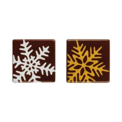 140 St. Quadrate Schneeflocke, dunkle Schokolade, sortiert