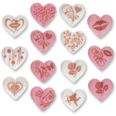 96 St. Zucker-Herzen mit Motiven, rosa und weiß, sortiert