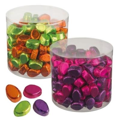 Kleine Pralineneier, 1 Dose lila/pink und grün/orange