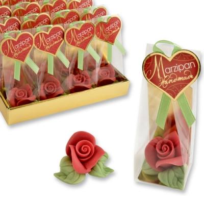 Marzipan-Rose rot, klein im Cellophanbeutel un Tray