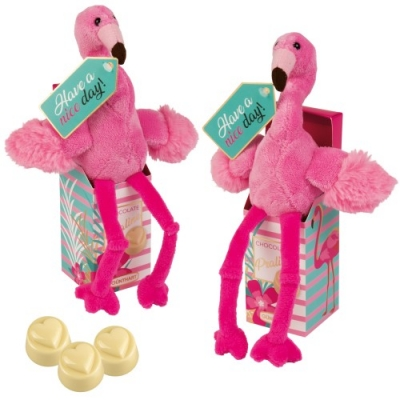 12 St. Plüsch-Flamingo in Box, gefüllt mit weißen Pralinen (Nougatcreme-Füllung)