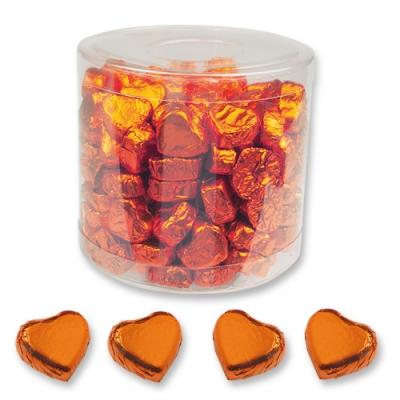 Kleine Nougatcreme-Pralinenherzen, orange