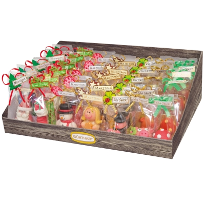 Tischaufsteller Marzipanfiguren Weihnachten, Neujahr