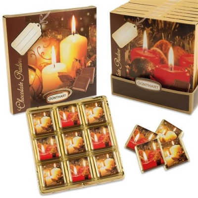 16 St. Pralinen-Präsent  Kerzen , sortiert, mit feinen Napolitains