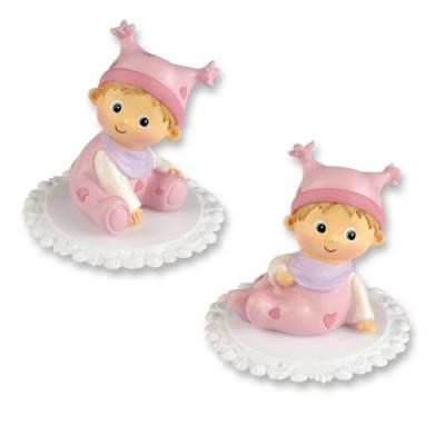 2 St. Poly-Aufsatz mit Baby,rosa